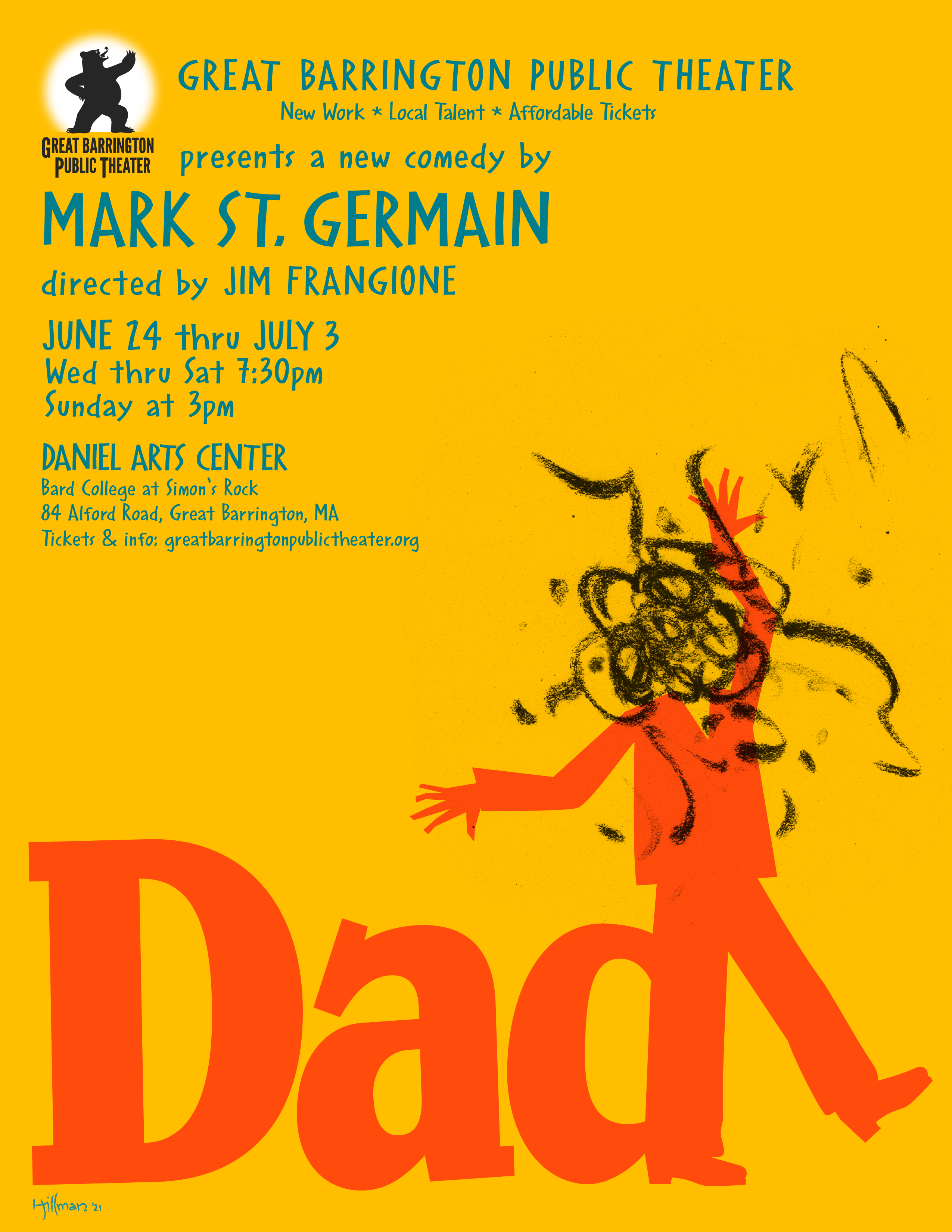 """<strong>Berkshire County-based graphic designer Ben Hillman designed posters for this season's productions of """"Dad"""" and """"The Christopher Boy's Communion"""" at Great Barrington Public Theater. Hillman also designed the theater company's logo.<em>Design by Ben Hillman</em></strong>"""