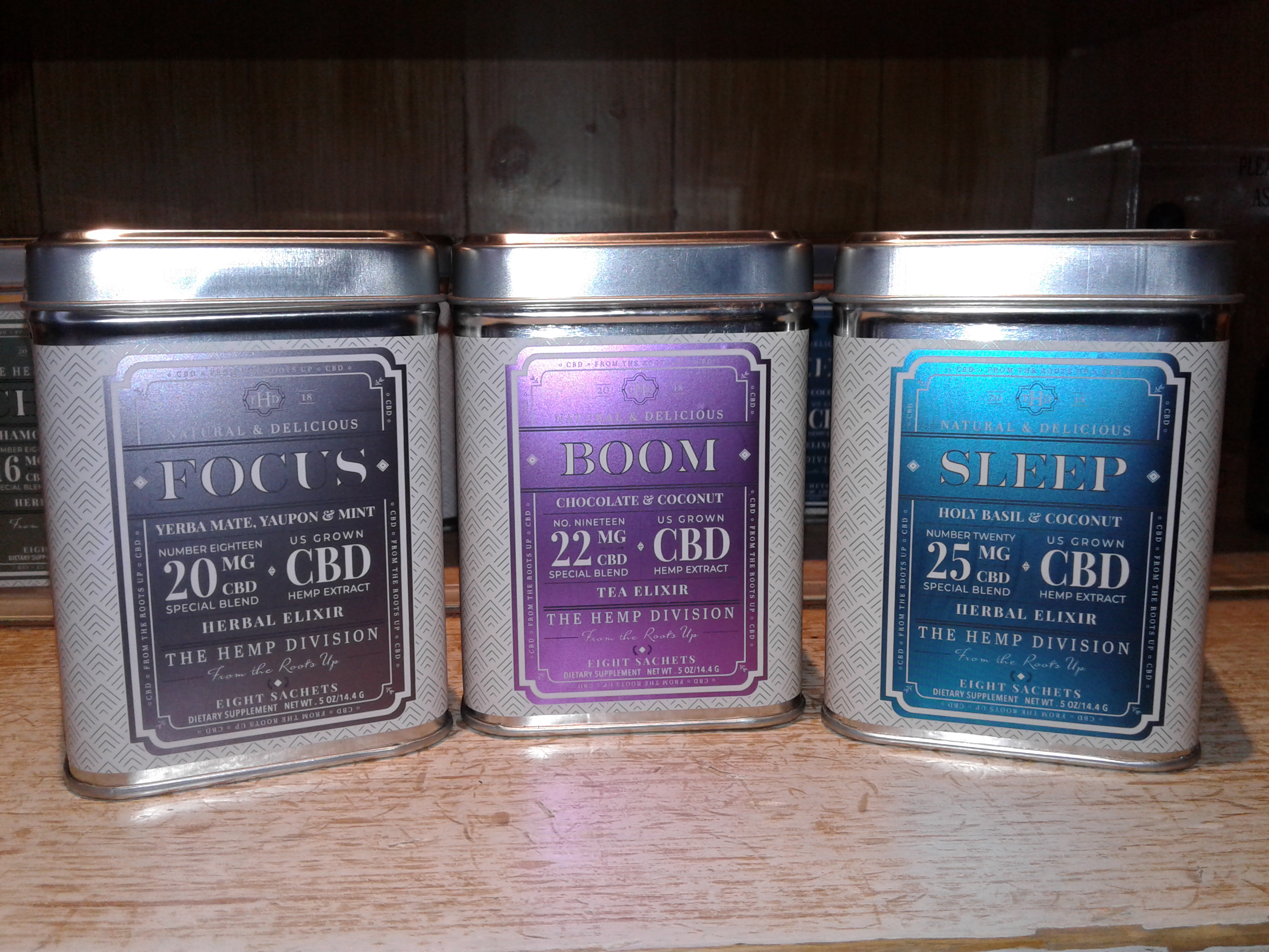 <strong>From honey to tins and bags of tea, rows of products from The Hemp Division, the sister company of Harney &amp; Sons Fine Tea, can now be found on the shelves at the Harney &amp; Sons Tasting Room, located at 13 Main St. in Millerton.<em> Photo by Kaitlin Lyle</em></strong>