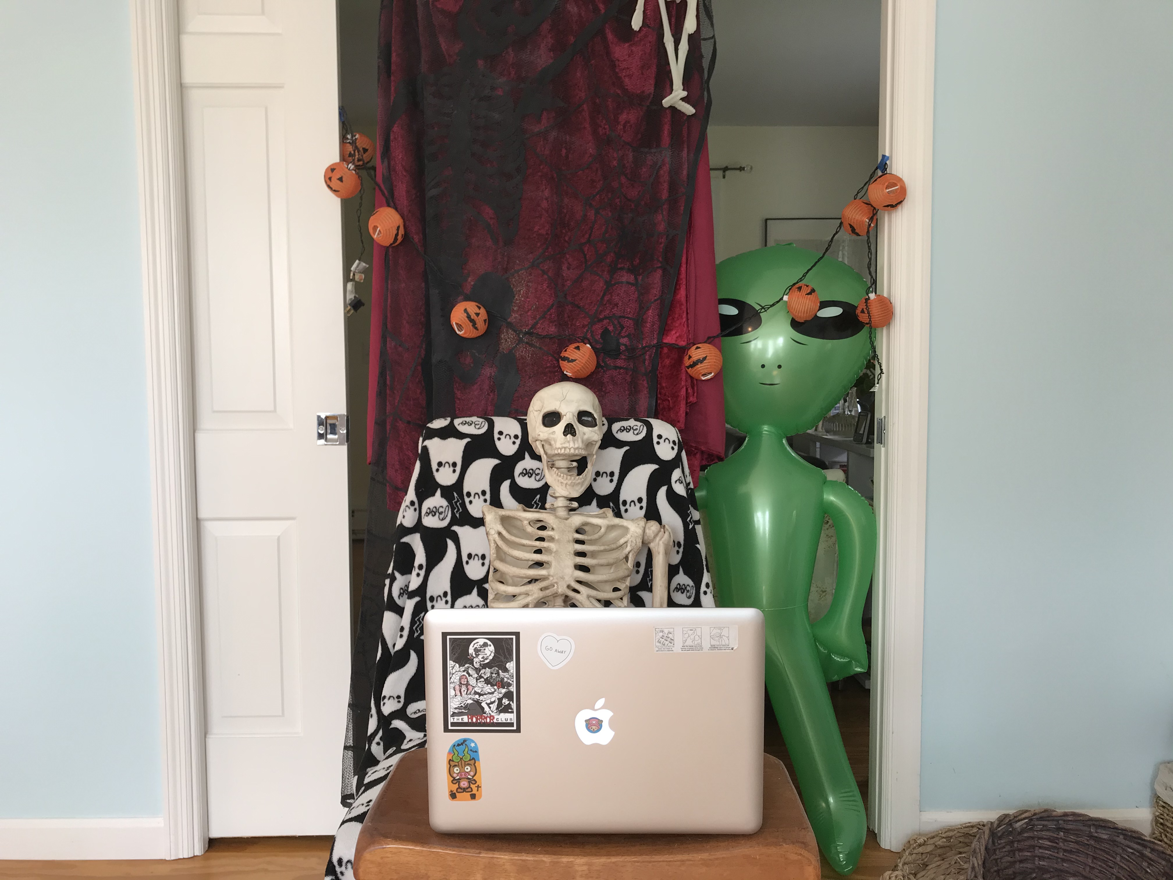 <strong>Don't worry about decorating the front porch and lawn for Halloween this year, when trick-or-treating might be canceled. Instead, set up a mini horror tableau for a Zoom Halloween. <em>P</em></strong><em>hoto by Kate Hochswender</em>