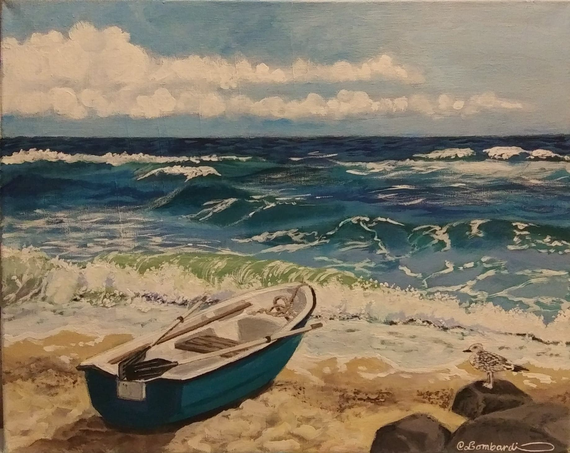 <strong>A show of sea-themed works by Christine Lombardi at the Kent, Conn., library is on display until Oct. 30. </strong><em>Photo courtesy Kent Memorial Library</em>