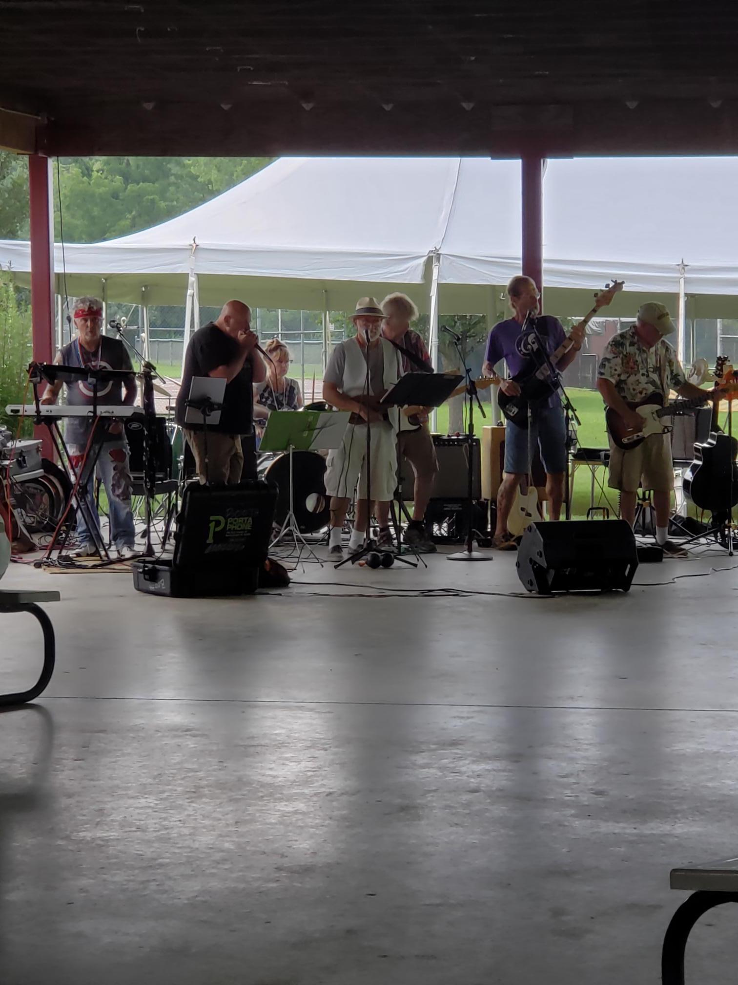 <strong>Between the band Scarecrow, above, and other special guests, the Dover-Wingdale community enjoyed an afternoon of music at Boyce Park in honor of the Hudson Valley heroes at the Thank You Essential Workers Recognition Concert on Saturday, July 17, despite the rainy weather. <em>Photo subitted</em></strong>
