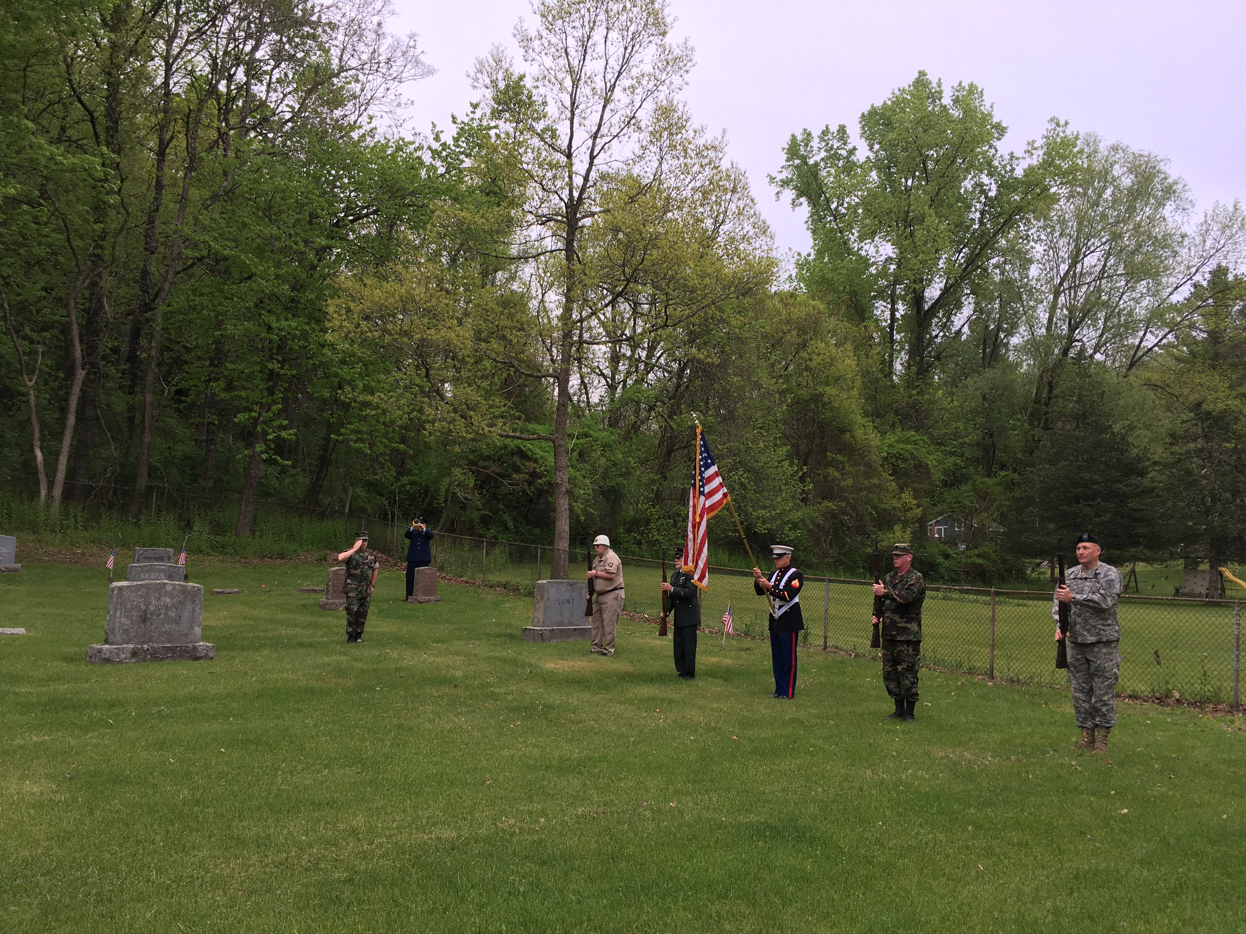 <strong>A gun salute to honor those who lost their lives in military service was givenin Falls Village (the Dublin Road Cemetery)on Monday, May 25.<em>Photo by Cynthia Hochswender</em></strong>
