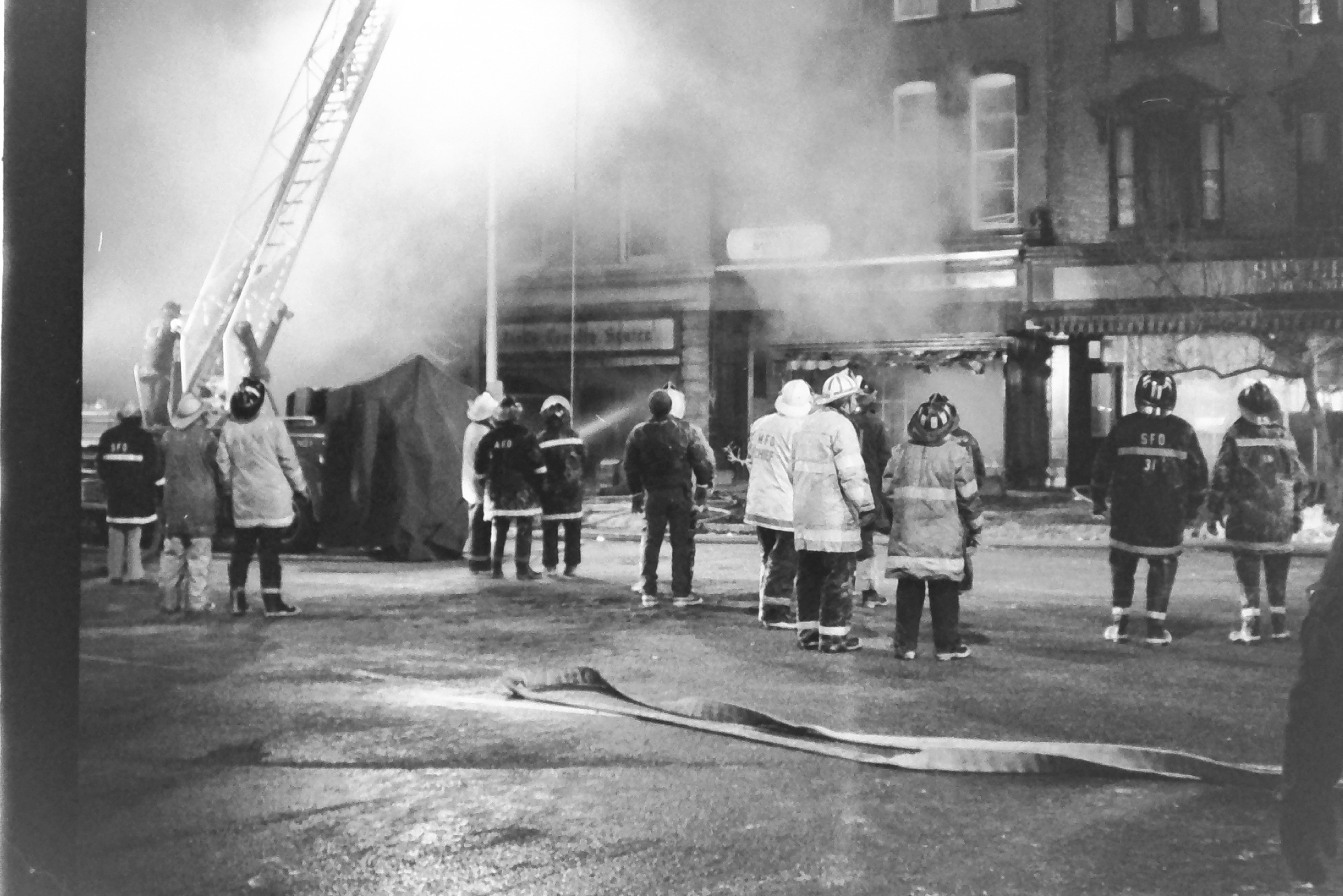 """The Lakeville Journal occasionally covers stories outside of its six major towns, such as Norfolk and Great Barrington. This fire in January 1985 (right) was on Main Street in Great Barrington. Historian and Lakeville Journal editor emeritus Bernard Drew identified the images for us (the photos were taken by North Canaan historian Kathryn Boughton, also an emeritus editor of The Lakeville Journal). Drew said """"the infamous Farshaw fire"""" was a multi-alarm blaze that destroyed retail buildings on Main Street. <em><strong>Photo by Kathryn Boughton</strong></em>"""