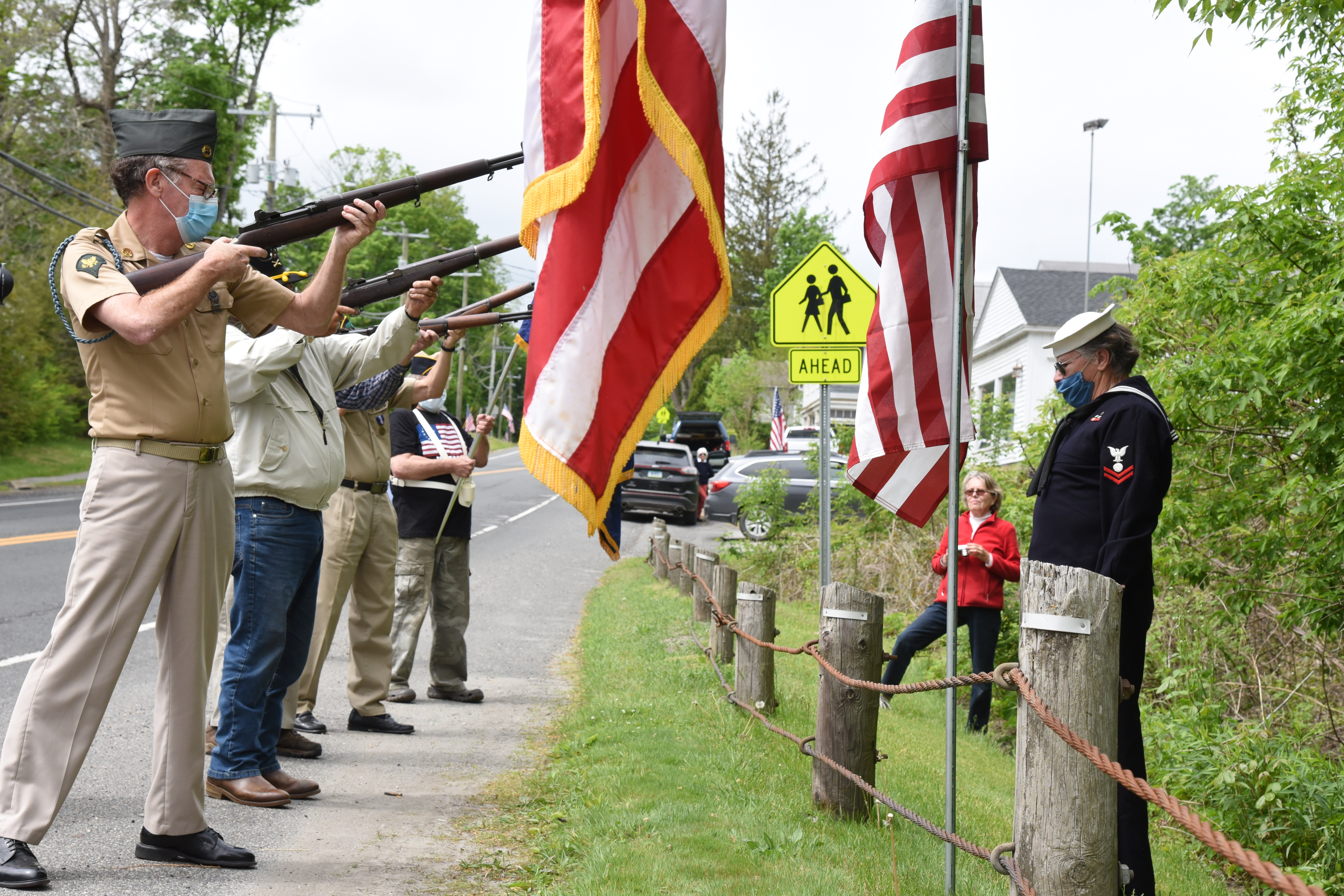 <strong>A gun salute to honor those who lost their lives in military service was given in Sharonon Monday, May 25. <em>Photoby Lans Christensen</em> </strong>
