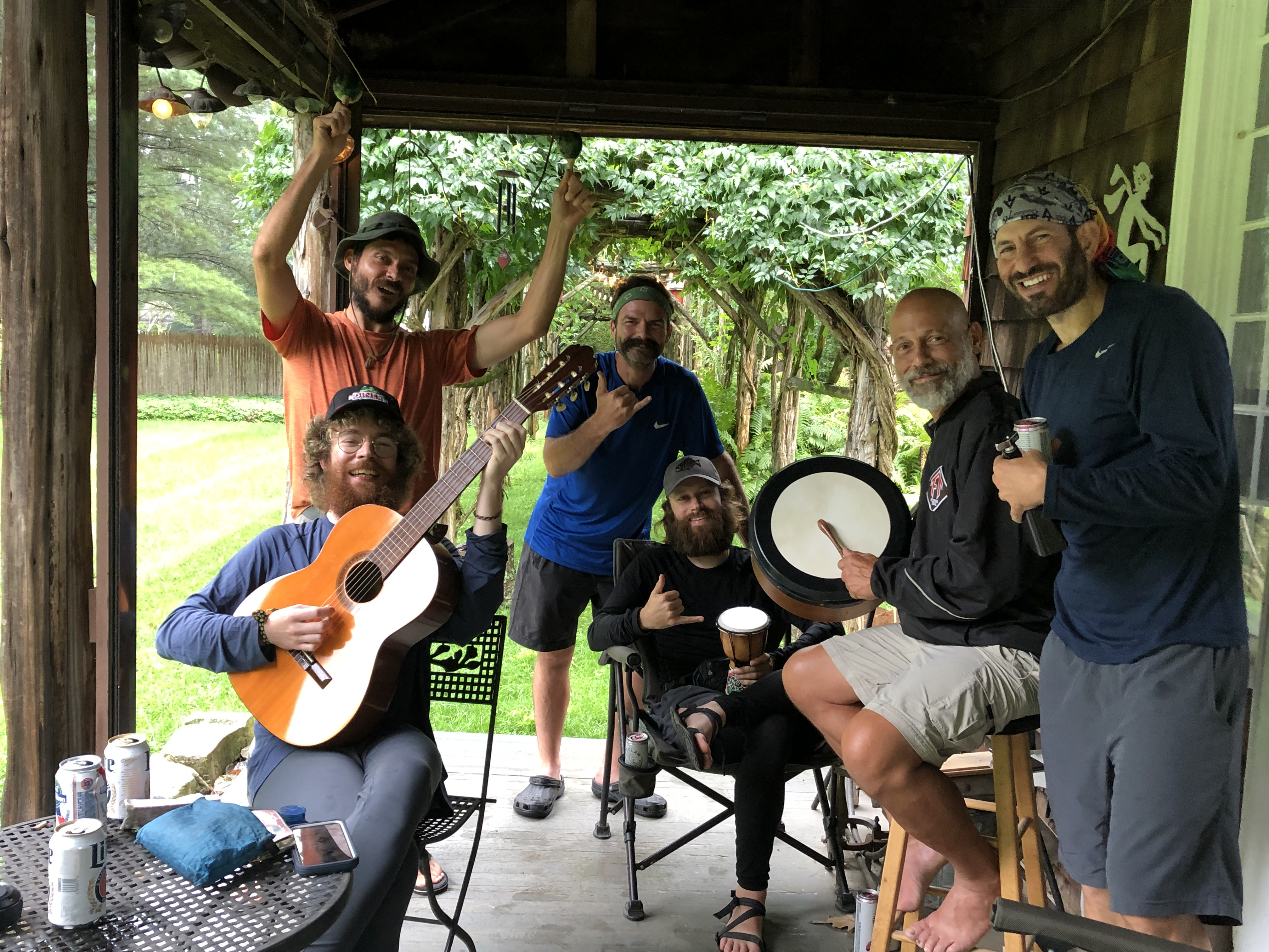 """<strong>Batman, Destroyer, Sunshine, Matador and Sitka (their Appalachian Trail """"trail names"""") took shelter from the storm on Monday, Aug. 23 — and had a wonderful visit with Noreen Driscoll at her home in North Canaan.<em>Photo by Noreen Driscoll</em></strong>"""