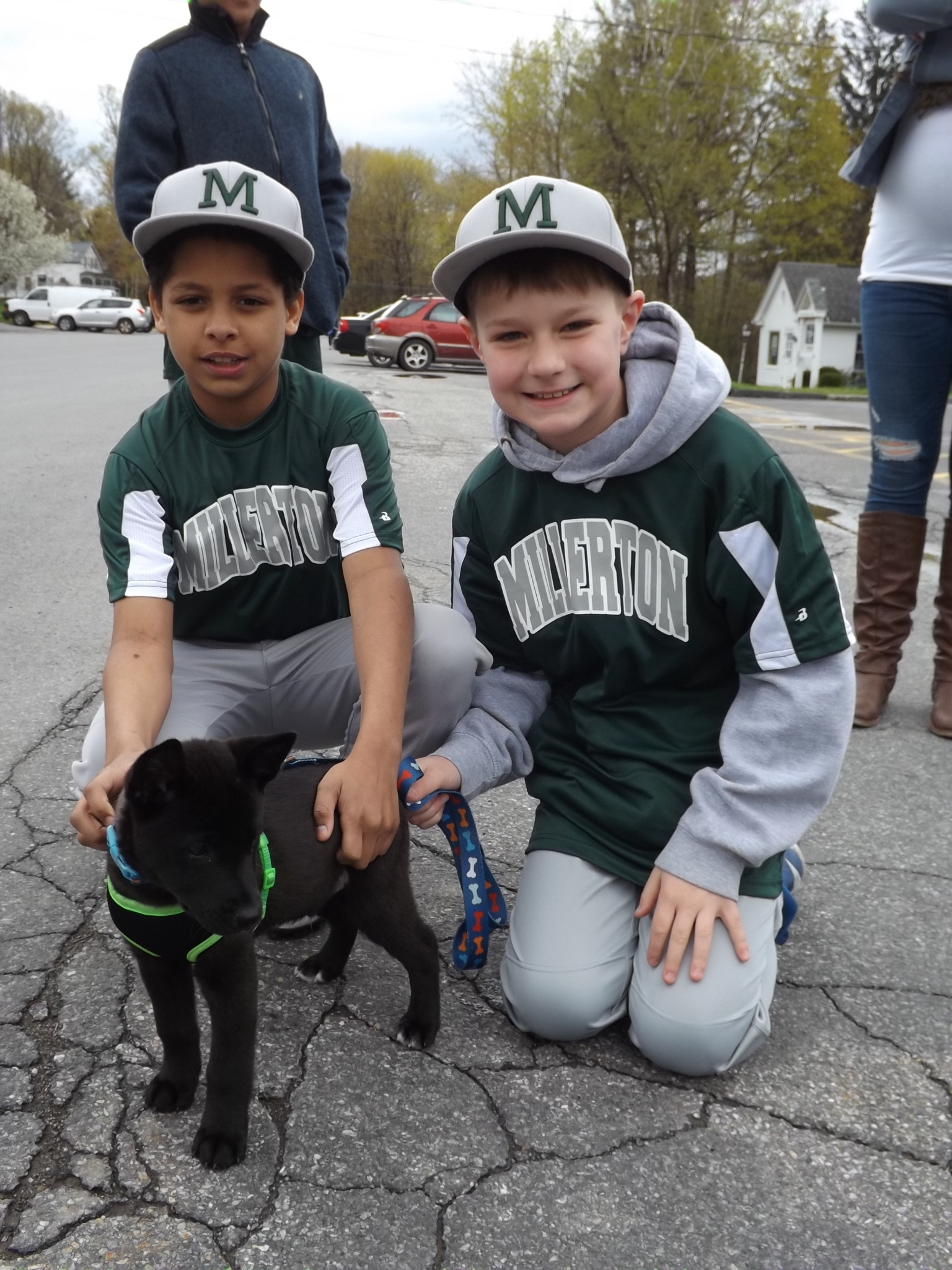 <strong>From left, Millerton baseball teammates Jaishaun O'Halloran and Brayden Selfridge posed for a 2019 Opening Day photo with Tucker the puppy.<em>Archive photos by Kaitlin Lyle</em></strong>
